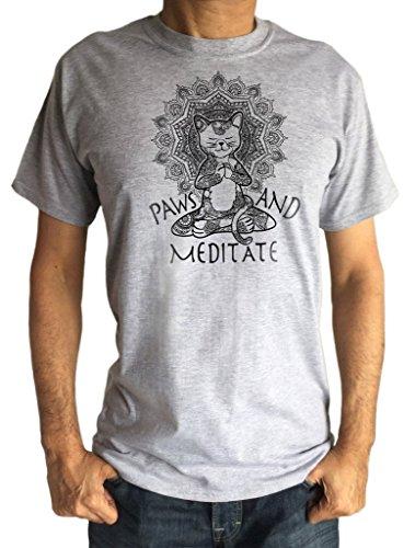d40725c259 Camiseta para Hombre Yoga Cat Paws and Meditate - Meditación del Loto Cat  Pose Print TS1382