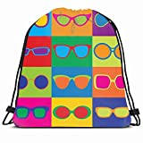 DHNKW Drawstring Backpack String Bag 14X16 Colorful 80S Pattern Pop Styled Generic Eighties Eyeglass Beauty Sunglasses Eye Frames 1980S 70S 1950S 1960S Sport Gym Sackpack Hiking Yoga Travel Beach
