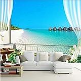 lsweia 3D Fototapeten Wandmalereien Malediven 3D Stereoskopischen Fenster Balkon Strand Meerblick Hintergrund Wandbild Vliestapete
