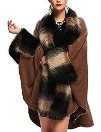 KAXIDY Abrigos de Invierno Mujer Chaqueta Abrigo Moda Piel de Imitación Ponchos Capas