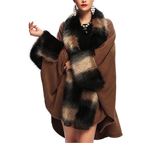 Kaxidy donne scialli elegante scialle capispalla mantelli cappotti poncho e mantelle (cachi)