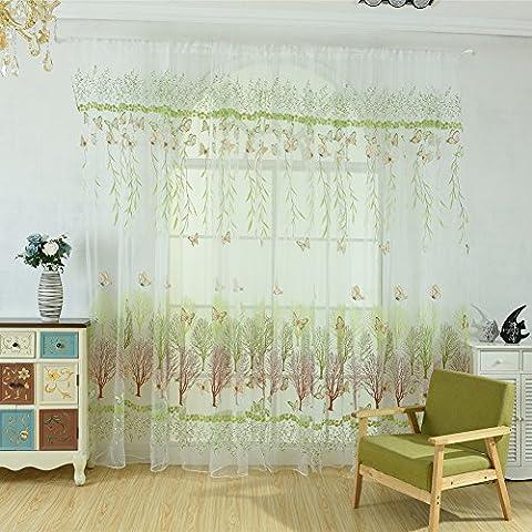 Infashionport Romantisches Schlafzimmer Schmetterlingsbaum Sheer Fenster Vorhang Raum Divider Home Decor - Gr¨¹n 100cm x 270cm