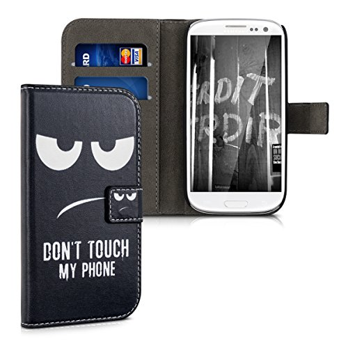 kwmobile Schutzhülle für Samsung Galaxy S3 / S3 Neo - aus hochwertigem Kunstleder mit Motiv Don't Touch My Phone - mit Kartenfächern