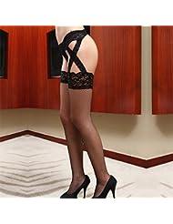 XMQC*Spice medias liguero-pack Colgante Lace ligueros hasta ropa interior, medias y ropa interior sexy tentación de ultra-fina transparente abierto en la entrepierna femenina terraza carne de pechuga medias primavera y verano-313 son códigos son código ,09952,