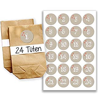 Papierdrachen Advent calendar 24 paper bags with stickers - amazing time design - 11