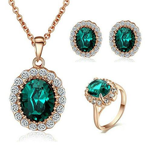 Yoursfs Prinzessin Kate Style Grüne Ohrring Halskette und Ring Set mit 18K Gold Überzogene für Damen Frauen Mädchen