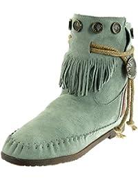 Angkorly - Chaussure Mode Bottine Bottes Indiennes Femme Frange lanière  métallique Talon ... 83880ea9bd78