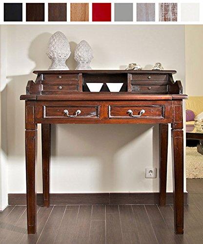 Braun Sekretär Schreibtisch (CLP Holz-Sekretär SHEFFIELD aus Mahagoni, handgefertigt, Kolonialstil, aus bis zu 9 Farben wählen Braun)