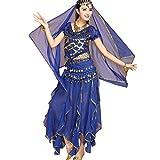 TianBin Volkstanzkostüm Tanzkostüm Bauchtanz-Kostüm Set für Damen Pailletten Top Volant-Rock (Saphir#6, One Size)
