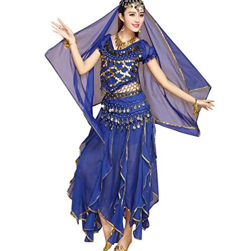 TianBin Volkstanzkostüm Tanzkostüm Bauchtanz-Kostüm Set für Damen Pailletten Top Volant-Rock (Saphir#7, One Size) (Schleier Kostüm Sieben Der Tanz)