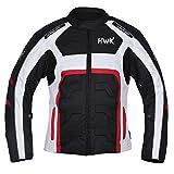 HWK Textile Motorcycle Jacket Motorbike Top 100% Waterproof CE Armoured (M, RED)