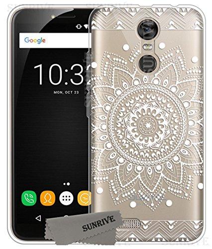 Für OUKITEL C8 Hülle Silikon,Sunrive Transparent Handyhülle Schutzhülle Etui Case Backcover für OUKITEL C8(tpu Blume Weiße)+Gratis Universal Eingabestift