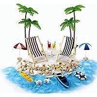 Gallop Chic Strand-Mikrolandschaft Miniliegestuhl Strandkorb Sonnenschirm Kleine Palme Deko Accessoires, 16 Stück Miniatur-Ornament-Set für DIY, Zen Garten Dekoration, Einzigartiges Geschenk