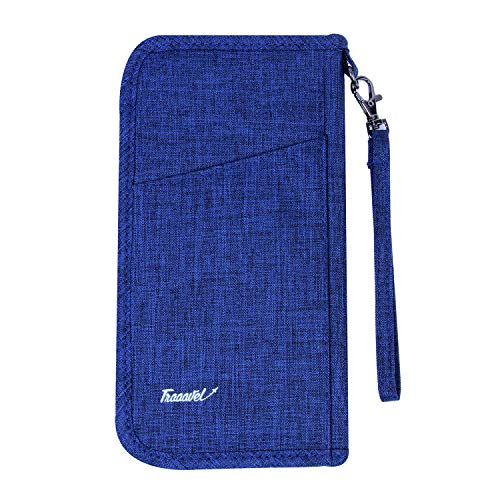 JEI Travel Passport Holder Wallet & Documents Organiser, Water Resistant, Zipper Case with Removable Wristlet Strap for Men and Women (Blue)