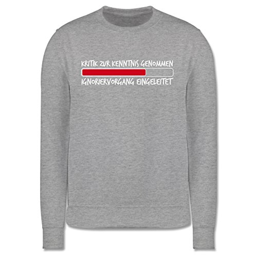 Sprüche - Kritik zur Kenntnis genommen - Herren Premium Pullover Grau  Meliert