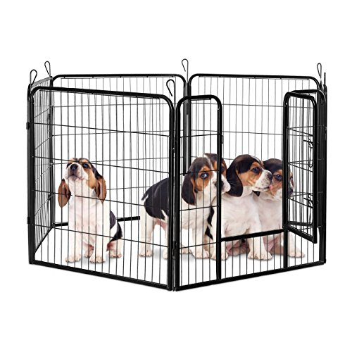 Relaxdays Welpenauslauf, Welpen, kleine Hunde, Kaninchen, Innen, Außen, Metall, Laufstall, HBT 80 x 240 x 80 cm, schwarz