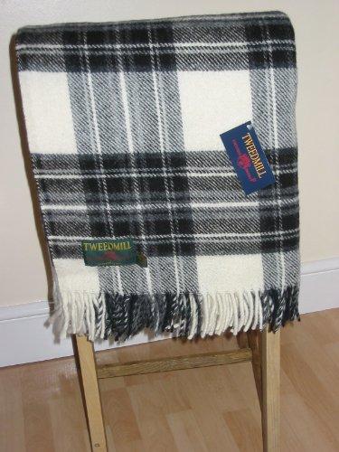 51Jja4NY 3L - Dress grey stewart tartan British made wool picnic blanket travel rug throw