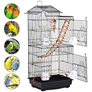 Popamazing Roof Top Large Metal Bird Cage Parrot Canary Cockatiel Conure Parakeet Budgie Finch Lovebird Pet Bird Cage w/Toys 46 x 35.5 x 99 cm (LxWxH)