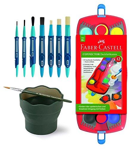 Faber-Castell Schulstartpaket: 125030 - Farbkasten CONNECTOR mit 12 Farben, inklusive Deckweiß, 7...