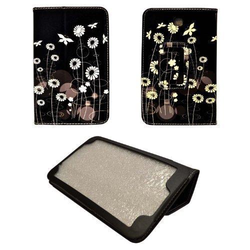 GADGET BOXX SCHWARZ FALL WEIß Blume und Schmetterling ENTWURFS STIL DRUCKEN PU Ledertasche für Samsung Galaxy Tab 7 3