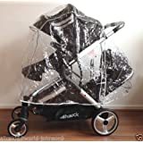 New HAUCK Official Raincover rain cover to fit Hauck, Britax B-Dual, ICandy Peach 3 twin etc Duett tandem double twin pushchair