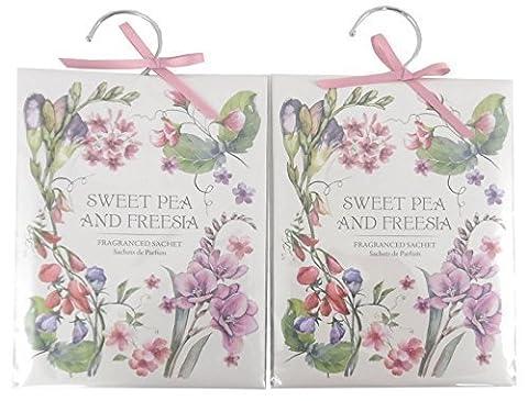 Set Of 2 Fragranced Wardrobe Freshener Sachets - Sweetpea And Freesia