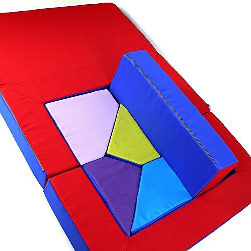 Spielsofa 4in1 Kindersofa Spielmatraze für das Kinderzimmer Spielpolster Softsofa blau/rot Puzzle Kinderzimmersofa Spieltisch Kindermöbel - 6