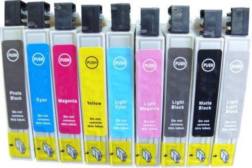 Preisvergleich Produktbild 9 kompatible Druckerpatronen ersetzen Epson T0591,T0592, T0593, T0594, T0595, T0596, T0597, T0598, T0599, geeignet für Epson Stylus Photo R2400