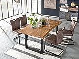 Woodkings Tischgruppe Kenton, Esstisch 170x90 mit 4 Schwingstühlen, Holztisch mit Baumkante, Esszimmerstuhl Wildlederoptik braun, Metall schwarz, Esszimmer Möbel