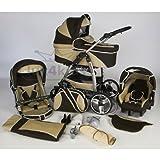 Carritos con Capazo FQ7 Platinum Edition Ferriley Fitz & asiento del bebé / asiento giratorio ruedas de cromo ruedas bolsa de pañales Brown & Beige 023 coches