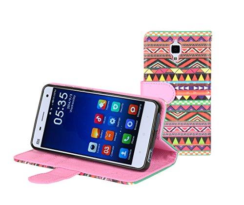 Mi 4 case, E LV Xiaomi Mi 4 Flip Folio Wallet Case Cover - Deluxe PU Leather Flip Wallet Case Cover for Xiaomi Mi 4 - TRIBAL