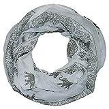 MANUMAR Loop-Schal für Damen | feines Hals-Tuch in grau mit Elefanten Motiv als perfektes Herbst Winter Accessoire | Schlauch-Schal | Damen-Schal | Rund-Schal | Das ideale Geschenk für Frauen