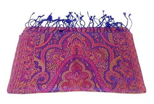 Indischer Seidenschal Schal 100% Seide jacquard gewebt elegante Farben mit Fransen 35 x 170 cm Indische/Paisley Muster Seidentuch - VIELE MUSTER (Lila-Bunt)