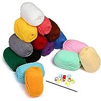 LIHAO 15x50g Pelotes de Laines Couleur en Acrylique pour Tricot, les Loisirs Créatifs
