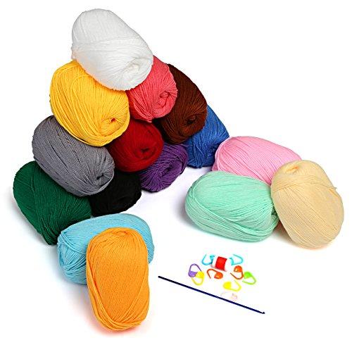 LIHAO 750g Wolle zum Häkeln 15x50g Handstrickgarn Häkelgarn Acryl für Stricken und Kunsthandwerk - 15 Farben