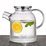 TAMUME 1500ML Glas Teekanne mit Edelstahlkappe und Filterspule Ideal für Früchteteeservice