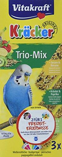 Vitakraft 21237 - Kräcker Trio-Mix(Sesam-Banana/Kräuter-Paprika/Kiwi-Zitrone) Sittiche 80g-3er Pack