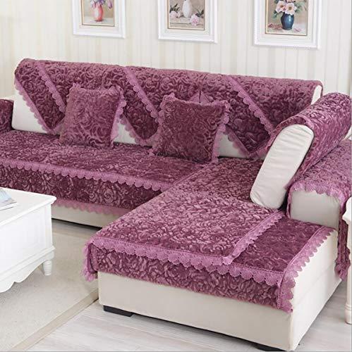 Sofabezug L Form Sofa Bezug Winter U Form 2/3/4 Sitz Dicke Flanell Rose Hussen Mode Rutschfeste Sofabezug, Red, 90 * 210cm