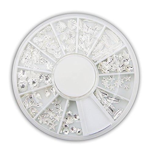 Beach-Time NailArt Overlays - Silber- Rad mit 12 Größen und Motiven -