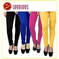 Combo of-4 Ultra Soft Cotton/Lycra Churidar Basic Solid Regular and Plus 30 types of pair Best Seller Leggings for Womens and Girl- Free Sizes Fit to waist between 26 Inch-34 Inch, BLACK-BLUE-PINK-YELLOW