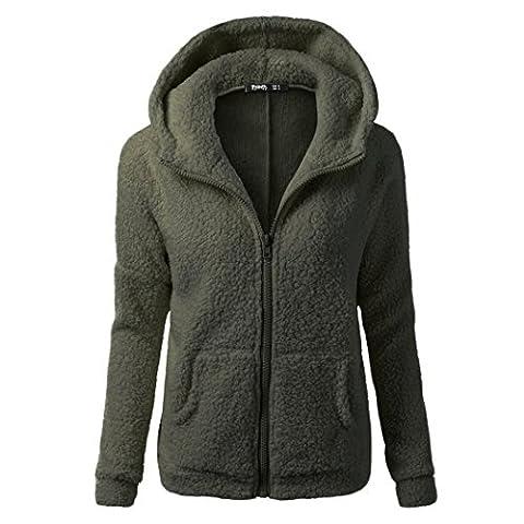 Women Casual Long Hoodies Sweatshirt Coat Pockets Zip Up Outerwear Hooded Jacket Plus Size Tops (S,