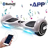 BEBK Hoverboard, 6.5 Zoll Self Balance Scooter, Elektro Scooter mit App Funktion & Bluetooth Lautsprecher, 2 * 350W Starker Dual Motor (Gray)
