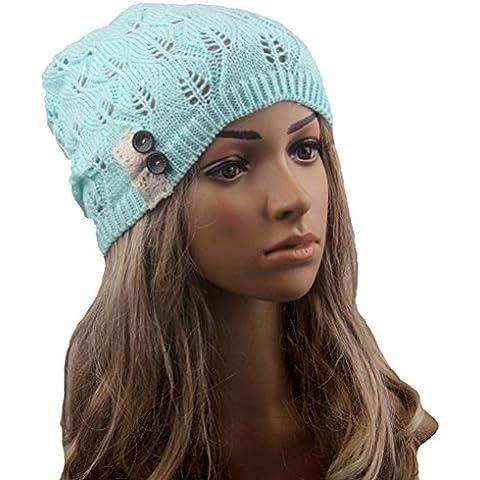 Pixnor Las mujeres Beanie gorro lana punto caliente de invierno SKI Snowboard hojas salida hueco de mujeres tejer sombrero