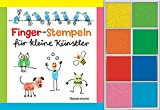 Fingerstempeln für kleine Künstler-Set: Buch und 8 Stempelkissen