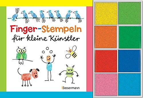 Preisvergleich Produktbild Fingerstempeln für kleine Künstler-Set: Buch und 8 Stempelkissen