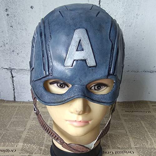 KYOKIM Captain America Maske Kind Erwachsener Halloween Mottoparty Helm Cosplay Karneva Herren Held Vollen Kopf Deluxe Replik (Captain Kinder Für America-anzug)