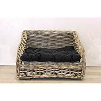 Keyhomestore caseta Cama Perro y Gato de Bambú con Suave cojín de Algodón Negro Línea Animal