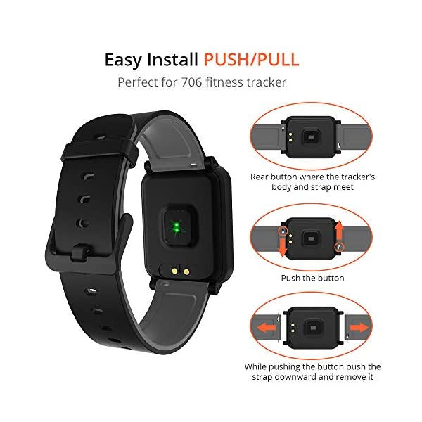 Fitpolo Bandas de reemplazo de Silicona H706 Fitness Tracker, Correa de Pulsera Activity Tracker, No Tracker (Paquete de… 4