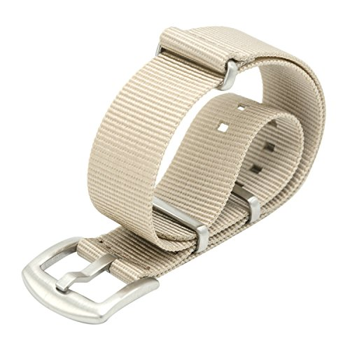 Uhrenarmband 18mm 20mm22mm Nato Strap Premium Ballistic Nylon Armband Swiss Zulu Uhrband Edelstahl Schnalle mit Federstege Werkzeug und 4 Federsteges Bonus (22mm, Khaki) (Nylon Strap Khaki)