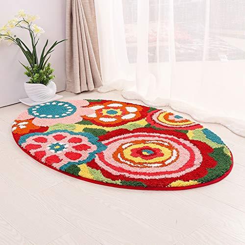 Traditionelle Ovale Teppich (RUG LUYIASI- Oval Teppich einfache Kinder Krabbeln Matte weichen plüsch Carpet saugfähigen Rutschfeste nachtdecke 15mm dick Non-Slip mat)